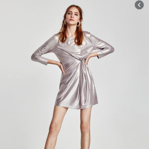 ZARA l Silver Metallic Dress Round